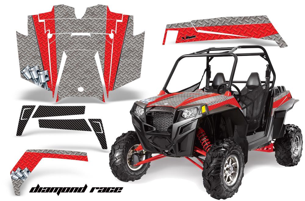 AMR Racing  Full Custom UTV Graphics Decal Kit Wrap Diamond Race Red Polaris RZR XP 900 11-14