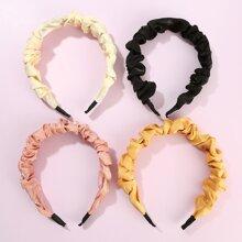 4pcs Simple Solid Hair Hoop