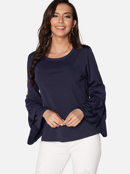 Yoins Navy Round Neck Long Bell Sleeves Blouse