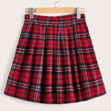 Plus Tartan Plaid A-line Skirt