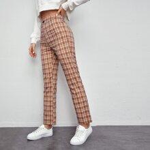 Pantalones de pierna recta de cuadros de cintura alta