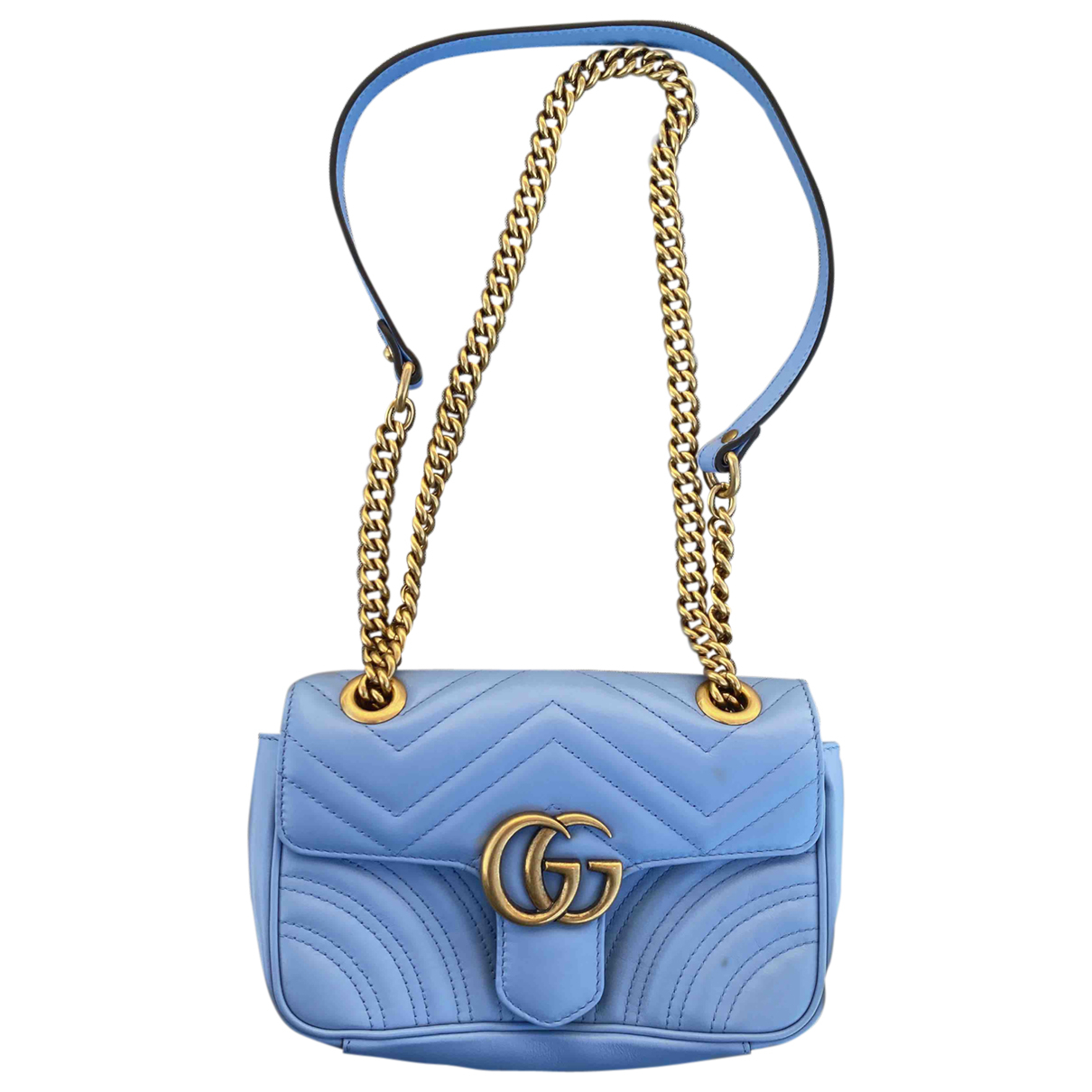Gucci Marmont Blue Leather handbag for Women \N