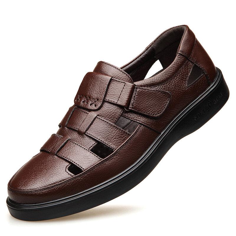 Men Closed Toe Dress Sandals Hook Loop Genuine Cow Leather Sandals