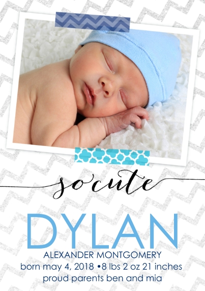 Newborn Flat Matte Photo Paper Cards with Envelopes, 5x7, Card & Stationery -So Cute Blue by Posh Paper