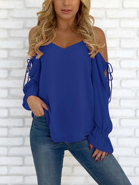 Yoins Dark Blue V-neck Cold Shoulder Lace-up Chiffon Blouse