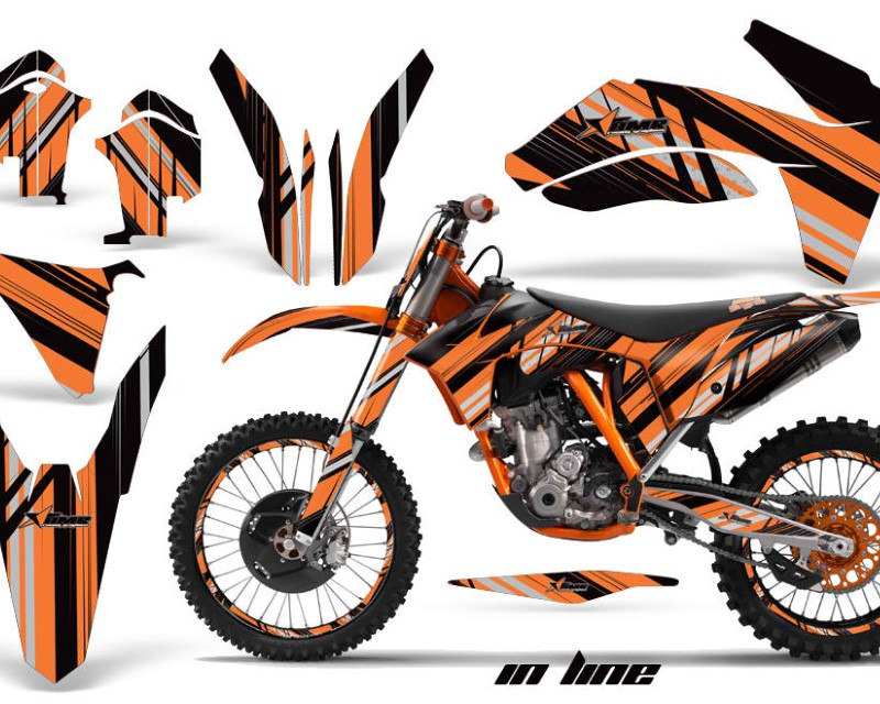 AMR Racing Graphics MX-NP-KTM-C7-11-13-IN K O Kit Decal Sticker Wrap + # Plates For KTM SX/SX-F/XC/EXC/XFC-W 2011-2013áINLINE BLACK ORANGE