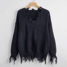 Plus Drop Shoulder Distressed Sweater