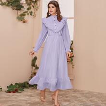 Maxi Kleid mit Falten und Knopfen vorn