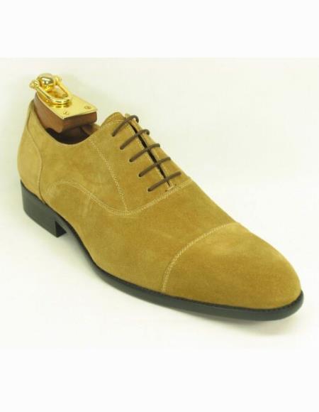 Men's Fashionable Lace Up Style Suede Cap Toe Wheat Shoes