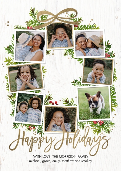 Holiday Photo Cards Flat Glossy Photo Paper Cards with Envelopes, 5x7, Card & Stationery -Holiday Festive Wreath by Tumbalina