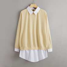 Drop Shoulder Contrast Collar Ruffle Hem 2 In 1 Pullover