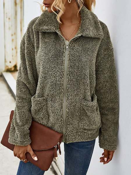 Milanoo Abrigos de piel sintetica para mujer Abrigo de invierno con cremallera de manga larga gris oscuro con bolsillos