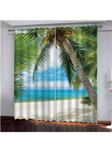 3D Romantic Holiday Scenery Blackout Curtain with White Beach and Green Coconut Tree