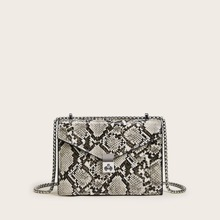 Snakeskin Flap Chain Crossbody Bag
