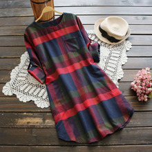 Rolled Sleeve Plaid Dress With Chest Pocket