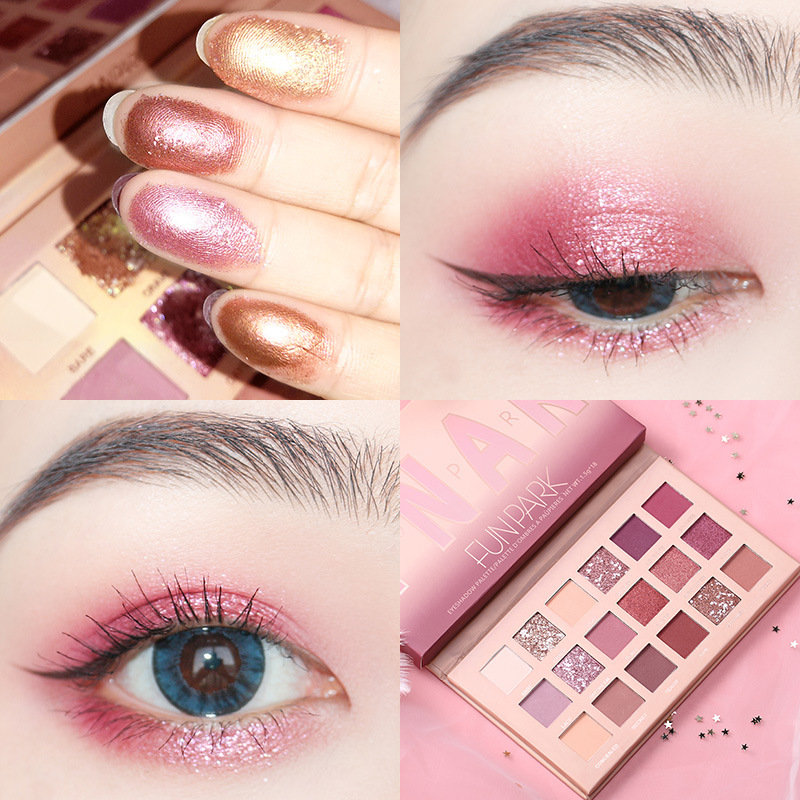 18 Colors Desert Rose Pearlescent Shining Matte Sequins Eyeshadow Palette Long-Lasting Eye Makeup