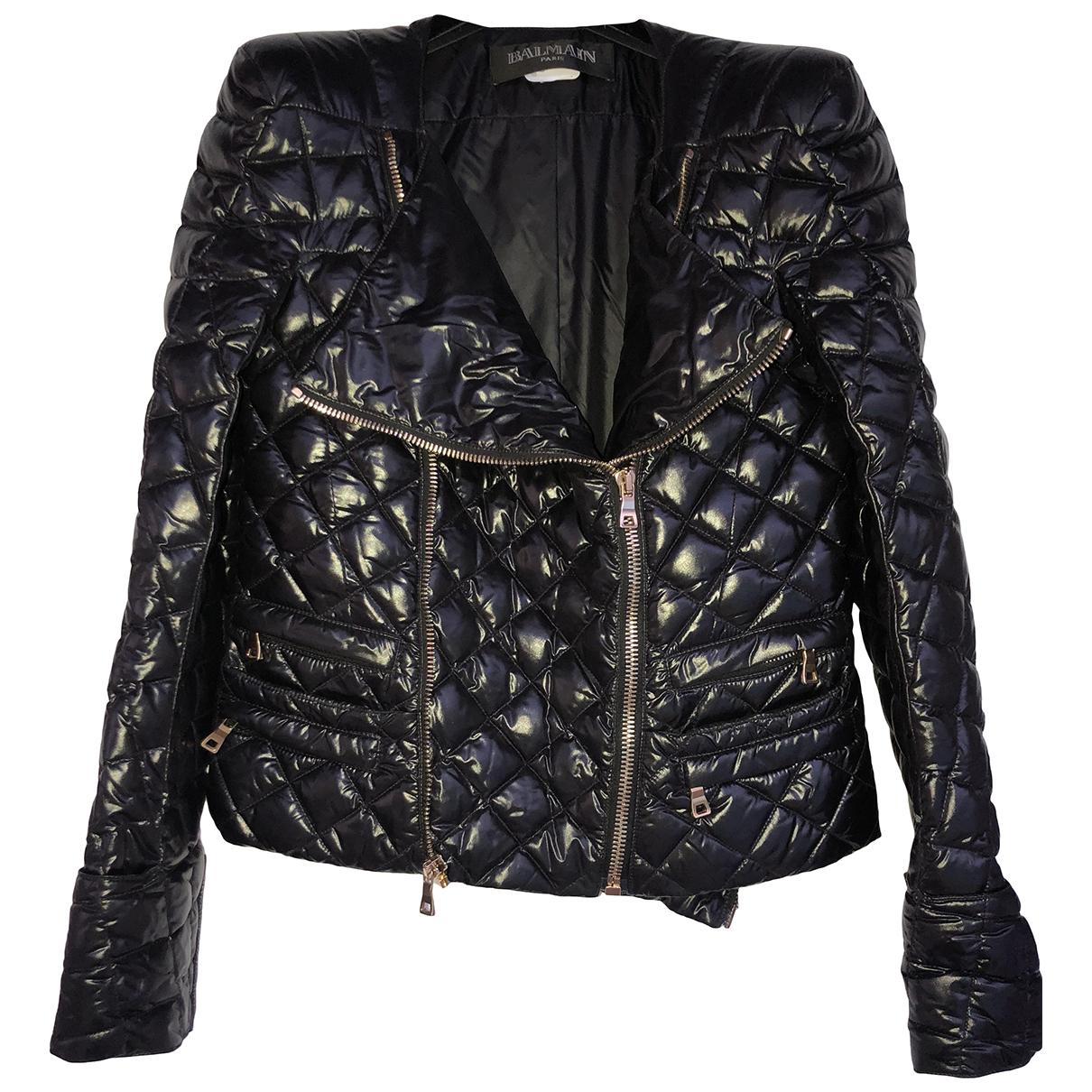 Balmain \N Black Leather jacket for Women 36 FR