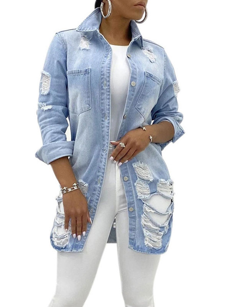 Milanoo Women\'s Jackets Turndown Collar Front Button Casual Cut Out Street Wear Light Sky Blue Jacket For Women