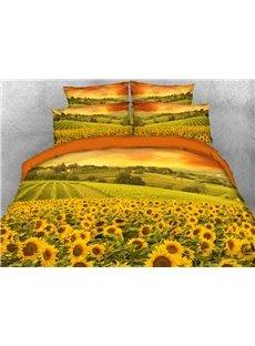 A Mass of Golden Sunflowers 3D Printed 4-Piece Polyester Bedding Sets/Duvet Covers