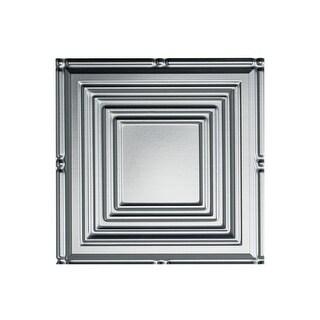Fasade Portrait Decorative Vinyl 2ft x 4ft Glue Up Ceiling Tile in Brushed Aluminum (5 Pack) (12x12 Inch Sample)