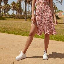 High Split Side Floral Skirt