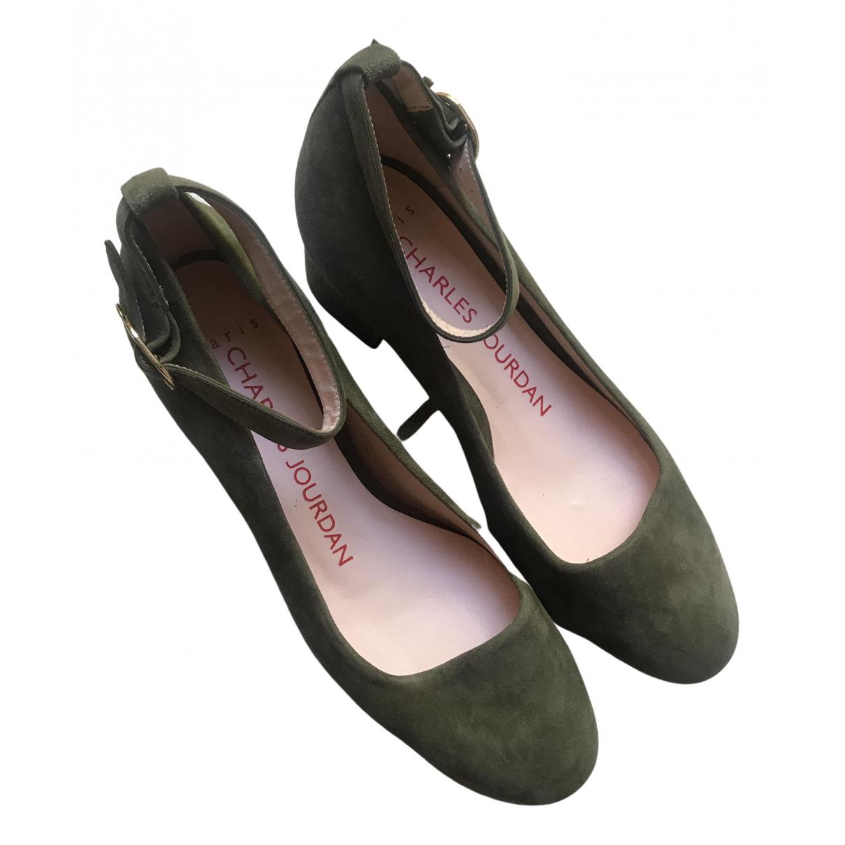 Non Signe / Unsigned \N Ballerinas in  Khaki Leder