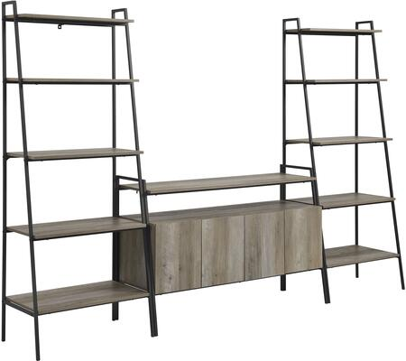 GW52ARLD3GW 3-Piece Ladder Shelf Entertainment Wall in Grey