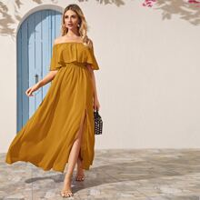 Foldover Bardot Split Thigh Maxi Dress
