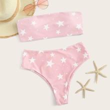 Set de bikini bandeau con estampado de estrella con bragas