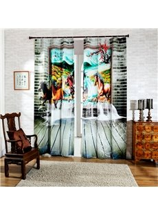 3D Running Horses in Picture Printed Decorative and Blackout Custom Room Curtain