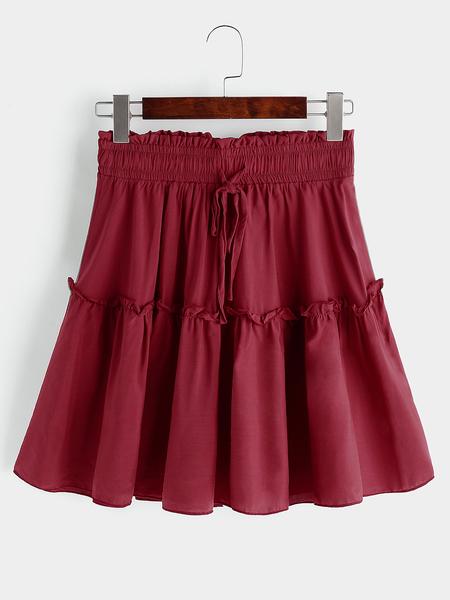 Yoins Red High waist Polka Dot Pleated Skort