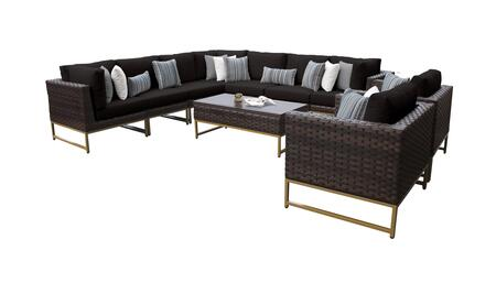 Barcelona BARCELONA-10a-GLD-BLACK 10-Piece Patio Set 10a with 3 Corner Chairs  2 Club Chairs  4 Armless Chairs and 1 Coffee Table - Beige and Black