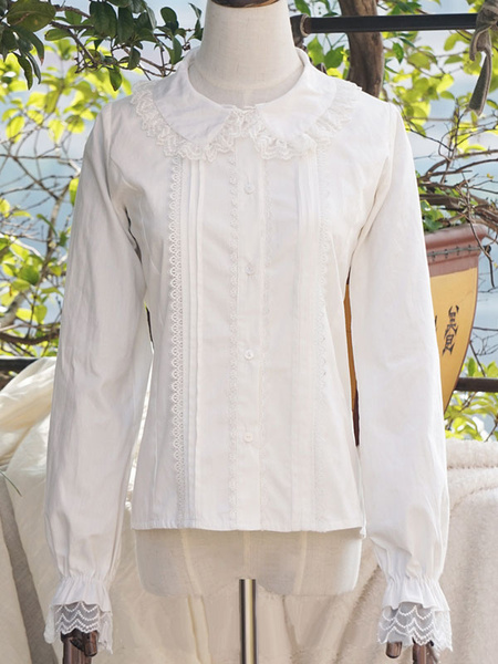 Milanoo Classic Lolita Blouse Lace Trim Pleated Puff Sleeve Peter Pan Collar White Lolita Top
