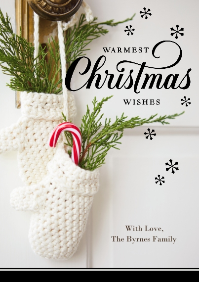 Christmas Photo Cards Set of 20, Premium 5x7 Foil Card, Card & Stationery -Knitted Mittens Christmas Wishes by Hallmark