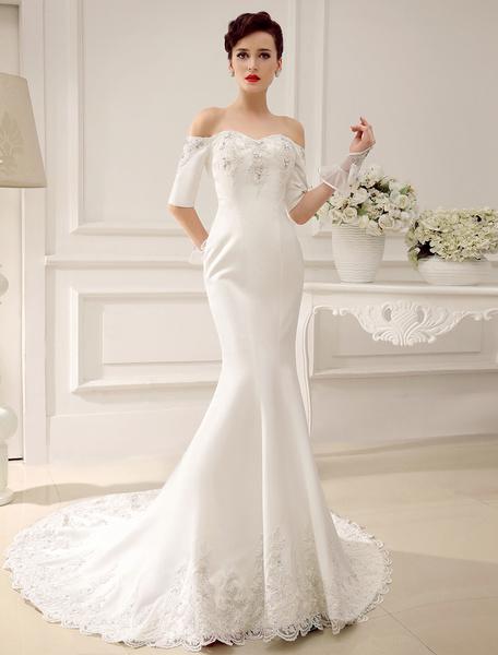 Milanoo Vestido de novia de saten con escote en corazon y apliegues de cola capilla