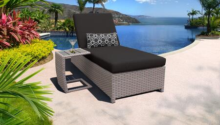 Monterey Collection MONTEREY-W-1x-ST-BLACK Patio Set with 1 Chaise with Wheels  1 Side Table - Beige and Black