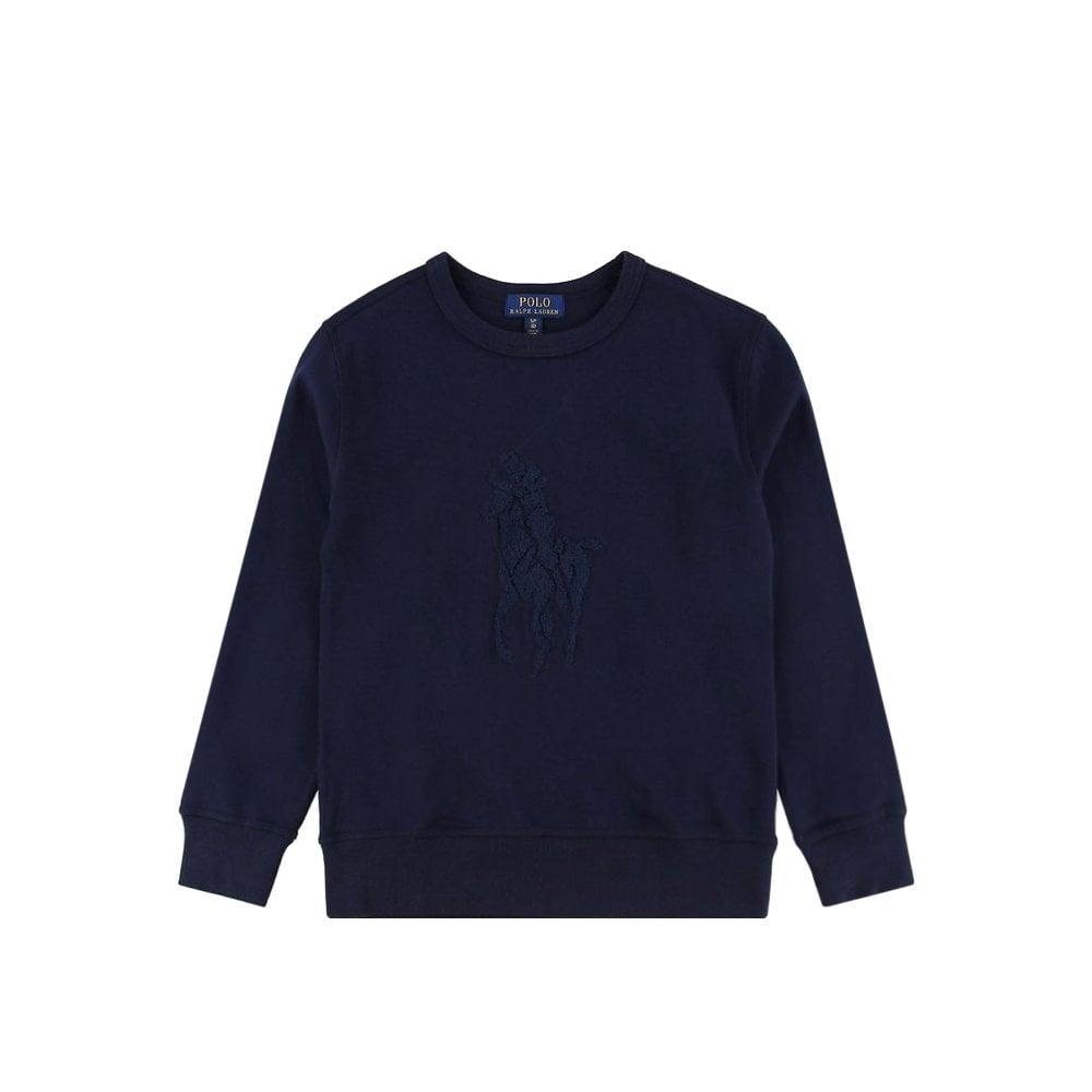 Ralph Lauren Pony Logo Sweatshirt Colour: NAVY, Size: 4 YEARS