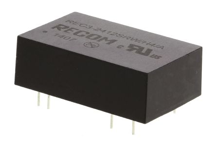 Recom REC3 3W Isolated DC-DC Converter Through Hole, Voltage in 18 → 36 V dc, Voltage out 12V dc Medical Approved