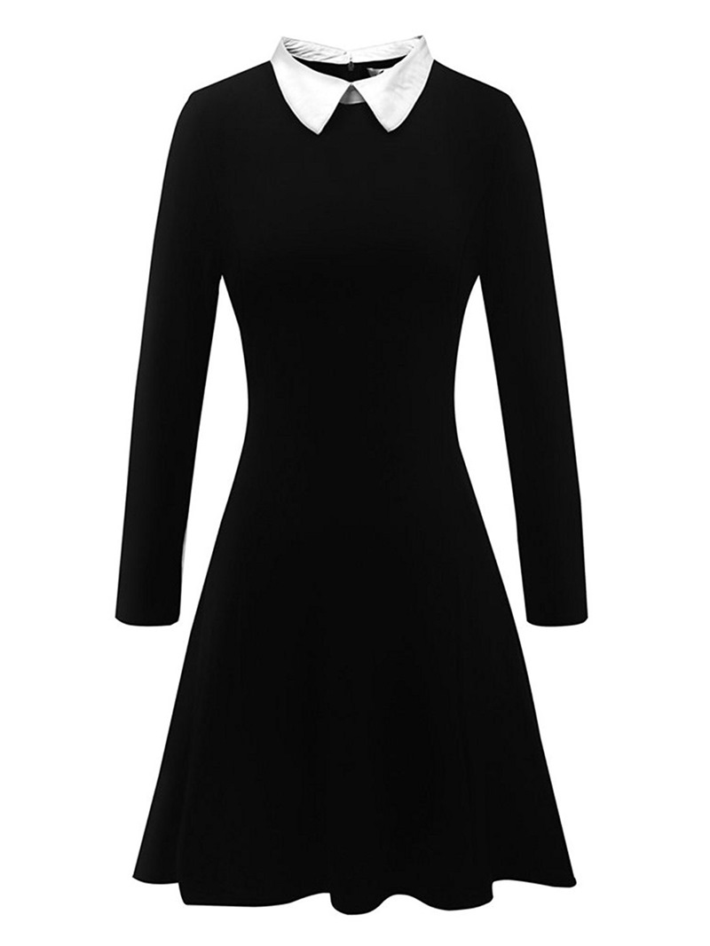 Ericdress Polo Neck Knee-Length Long Sleeve Standard-Waist A-Line Dress
