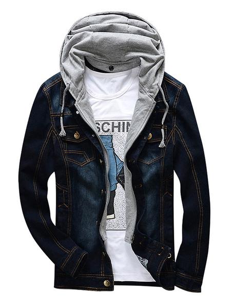 Milanoo Men Denim Jacket Hooded Short Jacket Patchwork Washed Jean Jacket