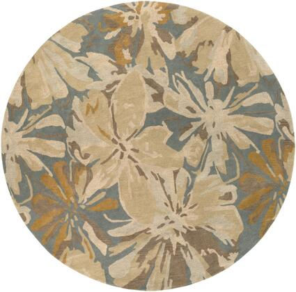 Athena ATH-5149 8' Round Modern Rug in Beige  Camel  Teal  Tan  Taupe