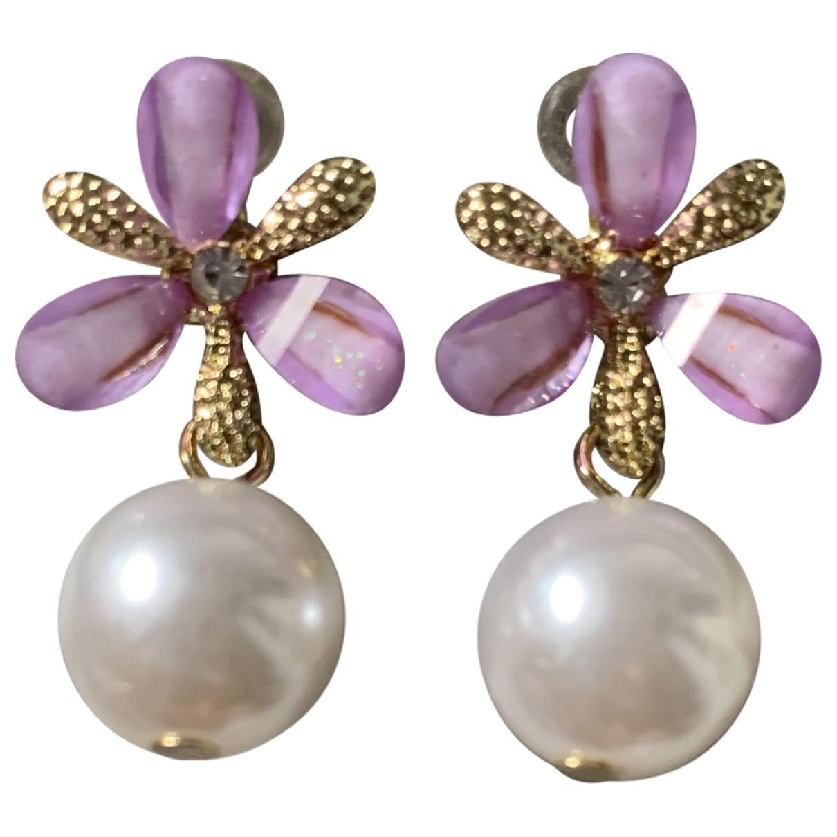 - Boucles doreilles Motifs Floraux pour femme en metal - multicolore