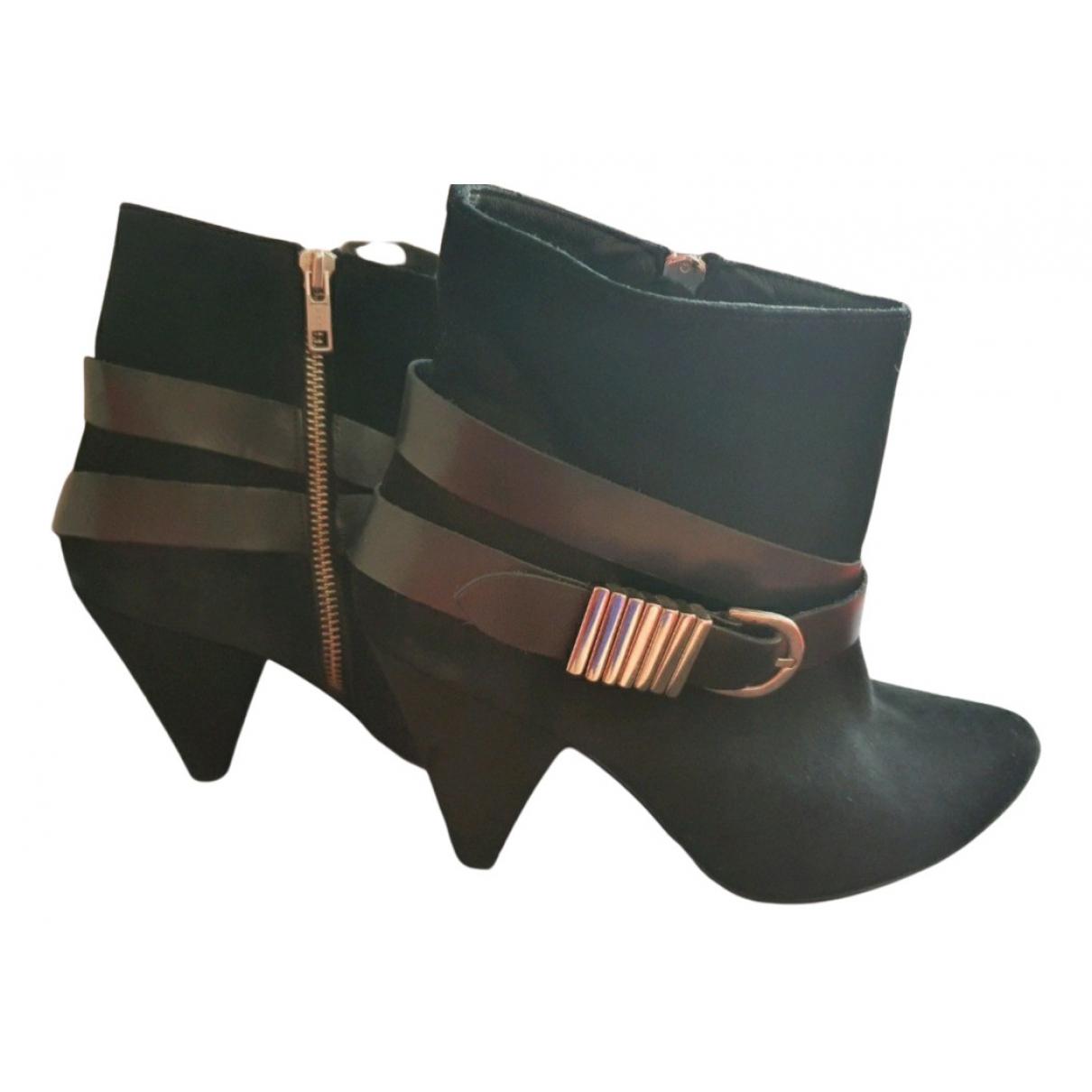 Sandro - Boots   pour femme en cuir - noir