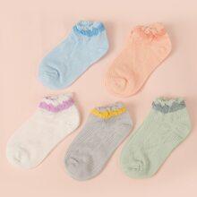 5 pares calcetines ribete en forma de lechuga de color combinado