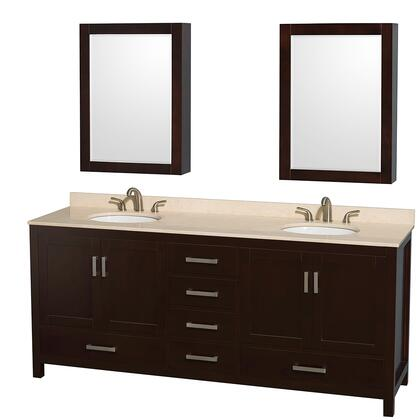 WCS141480DESIVUNOMED 80 in. Double Bathroom Vanity in Espresso  Ivory Marble Countertop  Undermount Oval Sinks  and Medicine