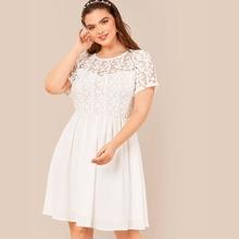 Plus Lace Bodice Flare Dress