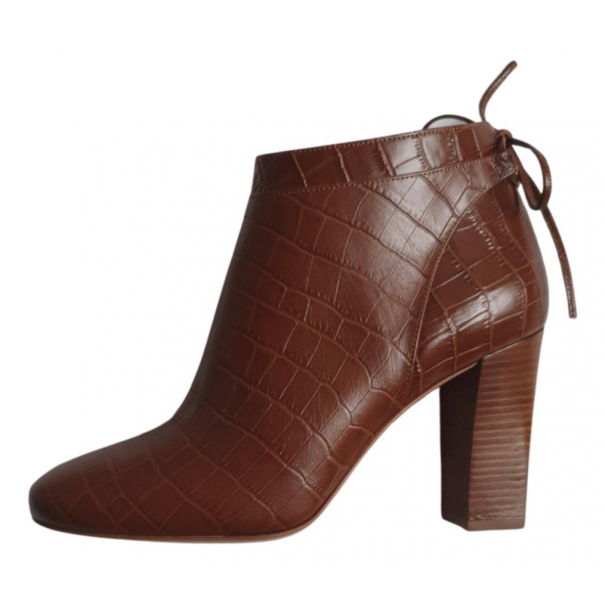 Sezane - Boots   pour femme en cuir - marron