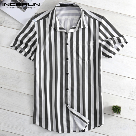 Yoins INCERUN Men Striped Print Curved Hem Shirt
