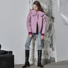 OVERSIZE STATEMENT COLLAR QUILTED DOWN COAT