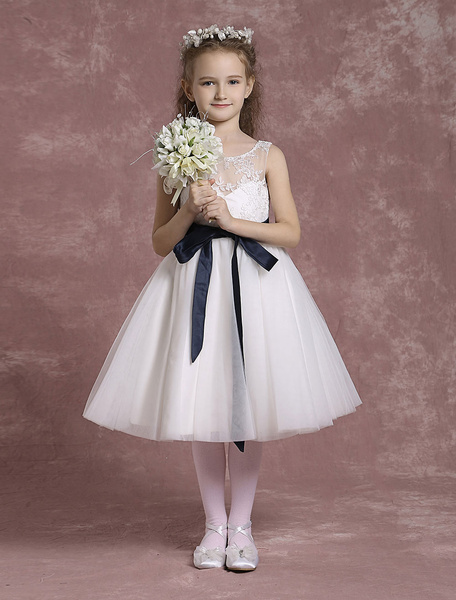 Milanoo Tulle Flower Girl Dresses Illusion Neck Lace Pageant Dresses Toddler's Tea Length A Line Dinner Dress With Sash